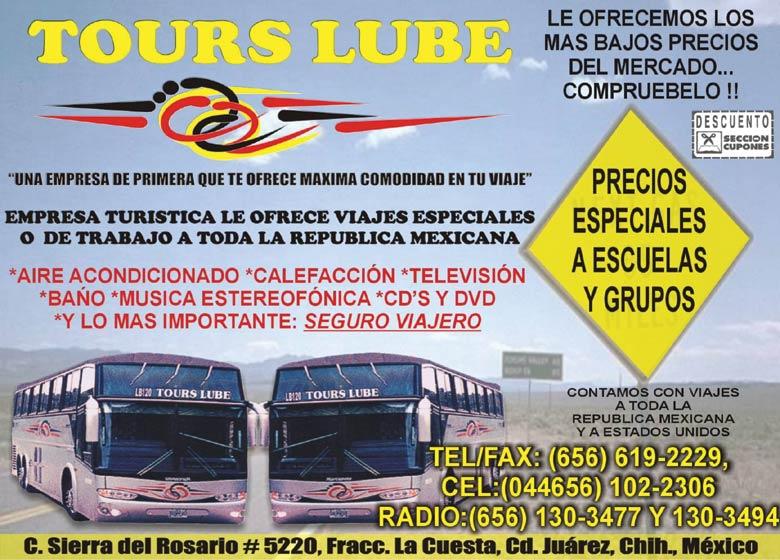 Camiones Para Pasajeros-Alquiler De-TOURS-LUBE-en-Chihuahua-encuentralos-en-Sección-Amarilla-BRO