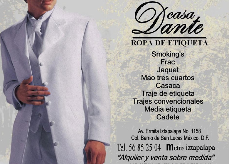 23ed52d39 Casa Dante Smoking Alquiler De Trajes De Etiqueta Y Vestidos